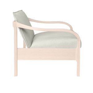 LOUNGE CHAIR WITH SHAPED TIMBER ARMS AND FRAME